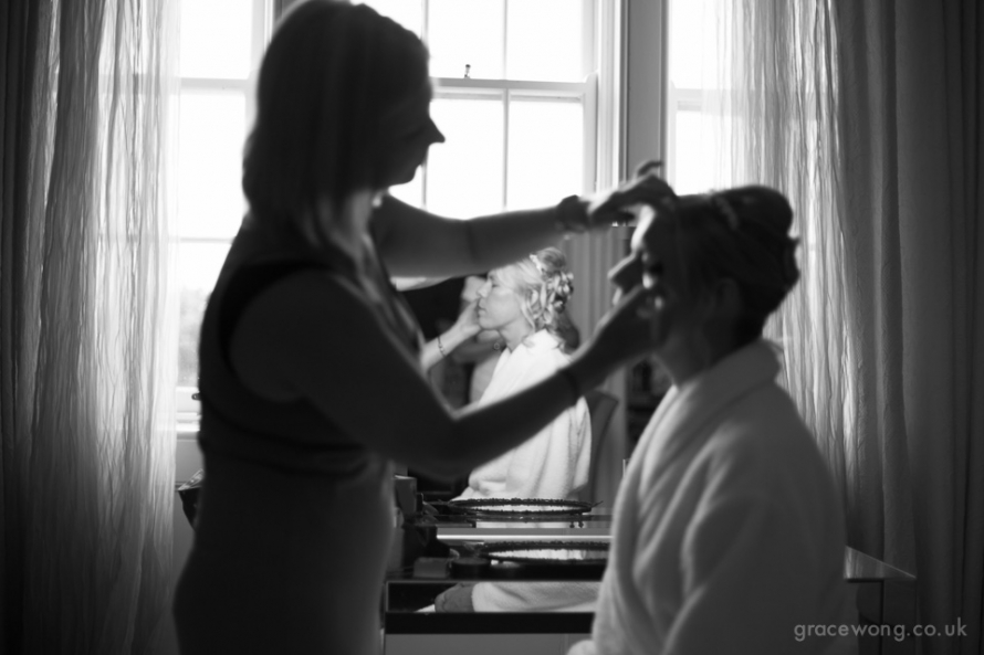 Bridal preparation at hodsock priory wedding